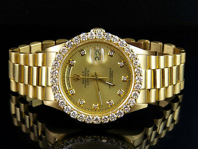 $ CDN23810.79 • Buy 18K Mens Yellow Gold Rolex President Day-Date 36MM 18038 Diamond Watch 4.25 Ct
