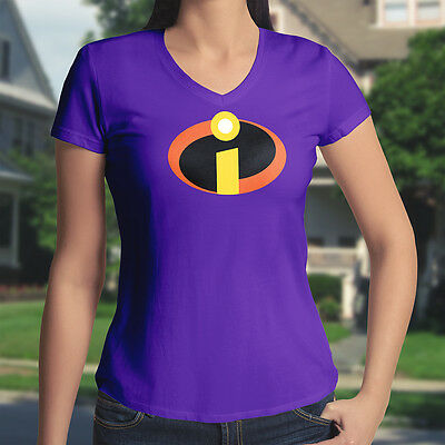 The Incredibles Mr Symbol Superhero Costume Junior Girl Women Tee V-Neck T-Shirt • 13.32£