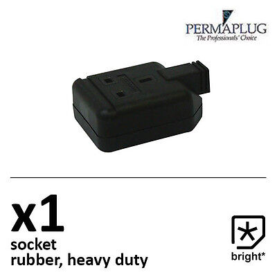1 X 13 Amp Permaplug Rubber Composite Socket Heavy Duty 3pin Black • 3.57£