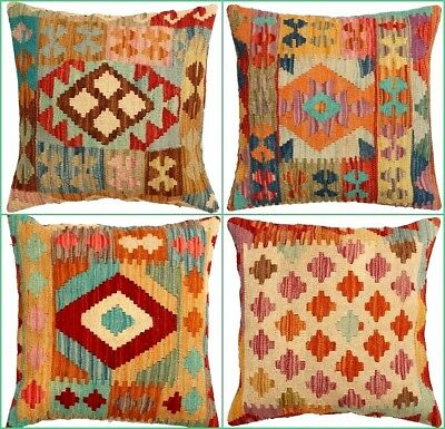 Traditional Unique Kilim Cushion Cover Colorful Handmade Turkish Oriental Pillow • 18.99£
