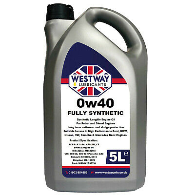 5L 0W40 Fully Synthetic Engine Oil 0w/40 - 5 Litres • 25.99£