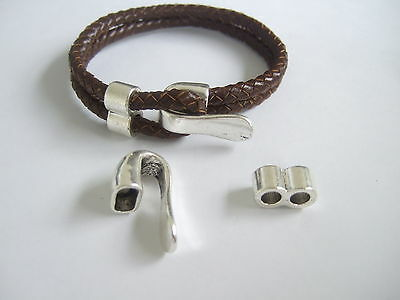 3 Sets Antique Silver Bracelet Clasp Findings For 2 Strands Of 5mm Round Leather • 2.99£