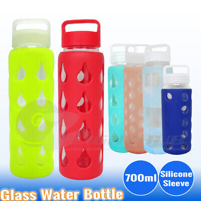 AU13.95 • Buy 700ml Glass Water Bottle Sport Outdoor Silicone Sleeve Hydration Cup BPA Free