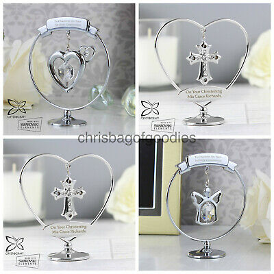 PERSONALISED HEART ANGEL CROSS Gifts For CHRISTENING 1ST FIRST HOLY COMMUNION • 21.50£