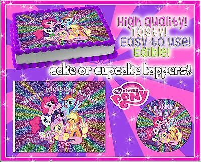 4 My Little Pony Birthday Cake Topper Edible Picture Paper Frosting Image Sugar O 1000