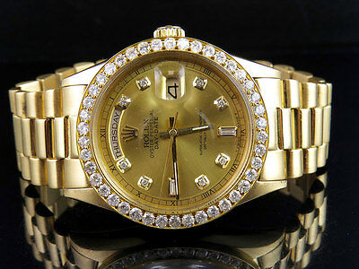 $ CDN17544.79 • Buy 18K Mens Yellow Gold Rolex President 1803 Day-Date 36MM Diamond Watch 3.25 Ct