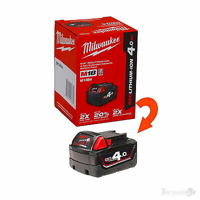 AU74.90 • Buy (1) Milwaukee M18b4 18v Red Lithium-ion Battery 4.0ah Genuine Aus Stock In Box