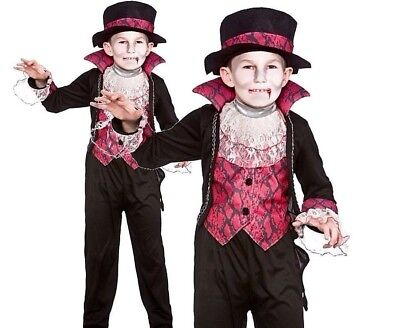 £10.85 • Buy Boys VICTORIAN VAMPIRE + Hat Halloween Horror Fancy Dress Costume Age 5-13