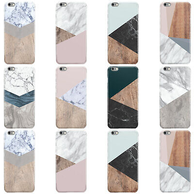 Dyefor Wooden Marble Geometric Hard Phone Case Cover For Apple Iphone • 4.95£