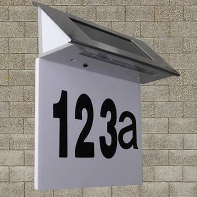 Solar 4 LED House Number Plaque Illuminated Doorplate Metal Wall Light • 8.51£