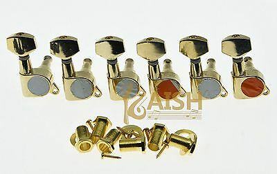 $ CDN17.67 • Buy Gold 6 Inline Guitar Tuners Guitar Tuning Keys Pegs Machine Heads