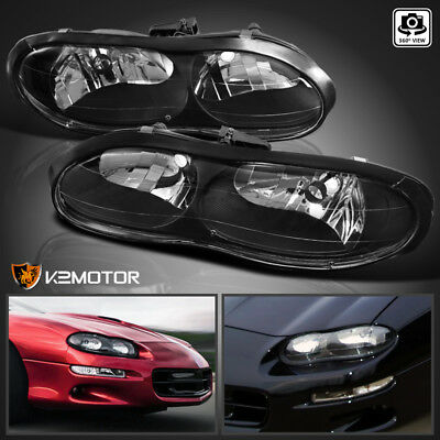 $98.38 • Buy For 1998-2002 Chevy Camaro Black Replacement Headlights Lights Lamps Left+Right