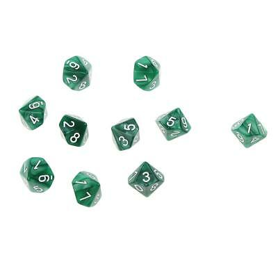 AU9.12 • Buy Set/10pcs Green Ten Sided   D&D RPG Roleplay Game D10 Dices