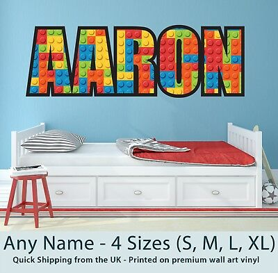 Childrens Name Wall Stickers Personalised Lego  - Perfect For Boys Girls Bedroom • 17.99£