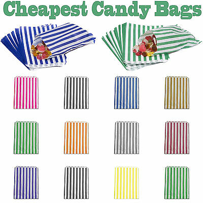 Candy Stripe Paper Bags Sweet Favour Buffet Gift Shop Party Sweets Cake Wedding • 5.10£