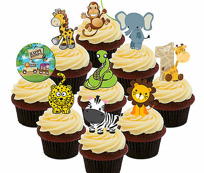 £4.99 • Buy 1st Birthday Jungle Zoo Animals Edible Cup Cake Toppers 36 Fairy Decorations Kid