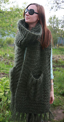 $135 • Buy 5 Strands Premium Mohair EXTRA LONG SCARF With Pockets Handknit Green Men Women