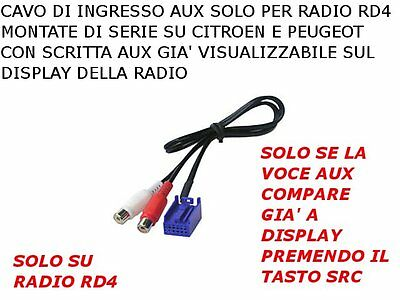 Cable Aux IN For All Citroen C2 C3 C4 Peugeot 307 308 207 MP3 Ipod Radio RD4 • 20.26£