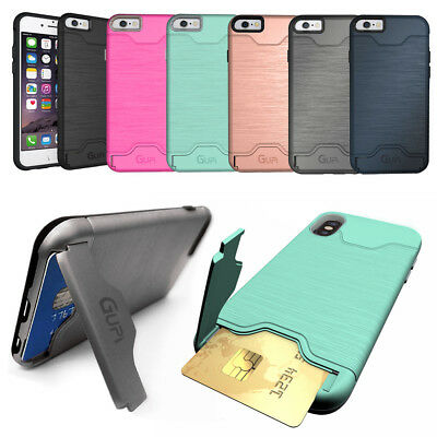 $ CDN10.15 • Buy Protective Armour Hard Phone Case Cover With Hidden CARD HOLDER & Media Stand