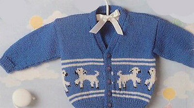 £1.99 • Buy Knitting Pattern- Baby Lamb Cardigan In 4 Ply Wool- Fits 16-22 Chest