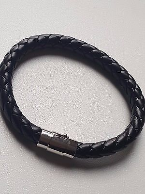 Mens Real Leather Braided Wristband Bracelet Stainless Steel Clasp • 2.99£