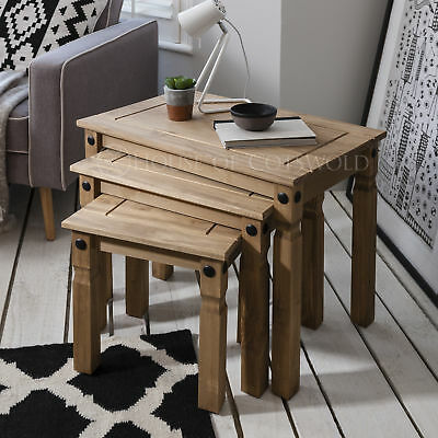 £64.99 • Buy Nest Of 3 Tables Wooden Corona Mexican Pine