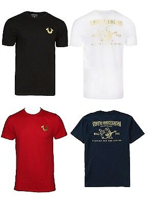 New! True Religion Brand Jeans Men's Gold Buddha Logo Horseshoe Tee T- Shirt  • 40.88£