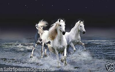 $ CDN52.73 • Buy WHITE Horse Stallion Mustang #2 Wall RV Trailer Mural Decal Decals Graphics