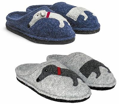 Haflinger Doggy Grey Blue Slippers Wool Felt Men's Women's With Dog Dackel • 52.50£
