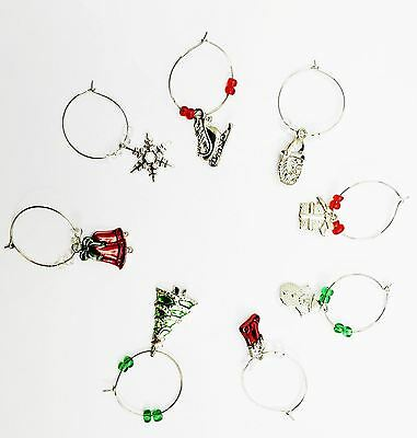 £2.89 • Buy Christmas Xmas Wine Glass Charms Ring Earing Hoop Table Decoraton Party Idea