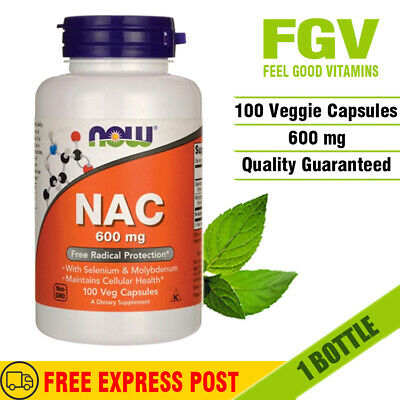 AU44.95 • Buy Now Foods NAC N-Acetyl Cysteine 600mg 100 Veggie Caps ANTIOXIDENT AMINO ACID