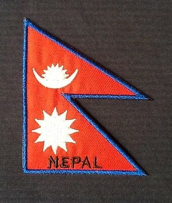 Nepal Nepalese Nepali National Prayer Flag Badge Iron Sew On Patch Backpacker • 2.99£