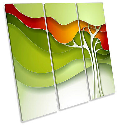 £46.99 • Buy Funky Abstract Green Tree CANVAS WALL ART TREBLE Square Print Picture