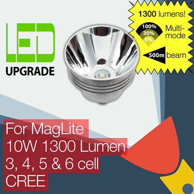 MagLite LED Conversion/upgrade Bulb 1000LM Torch/flashlight 3 4 5 6 D Cell CREE • 34.95£