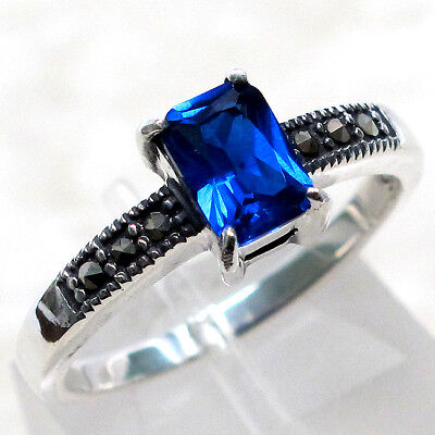 AU20.73 • Buy Gorgeous Marcasite 1 Ct Sapphire 925 Sterling Silver Ring Size 5-10