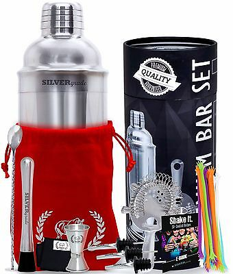Professional Bar Set - Bartender Kit In A Luxury Bag, Martini Cocktail Shaker • 38.88$
