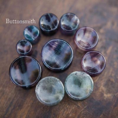 $10.65 • Buy Pair Of Concave Rainbow Fluorite Stone Plugs Double Flared Ear Lobe - 00g To 1