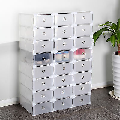 £19.59 • Buy 24X Clear Plastic Shoe Storage Boxes Drawer Stackable Foldable Durable Organiser