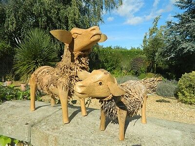 £42.99 • Buy Wooden Sheep Bamboo Sheep Goat Garden Ornaments - Assorted Sizes