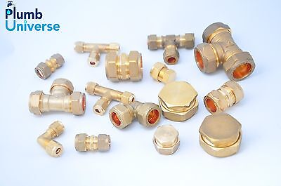 £3.45 • Buy Brass Compression Fittings 6mm,8,10,12,15mm,22mm Straight, Elbow, Tee, Stop End