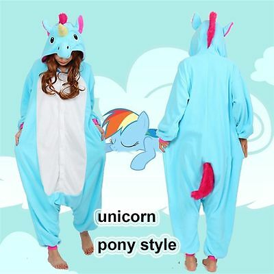 AU44.49 • Buy New Blue Unicorn Pony Kigurumi Anime Unisex Cosplay Pyjamas Costume Onesie21 UK