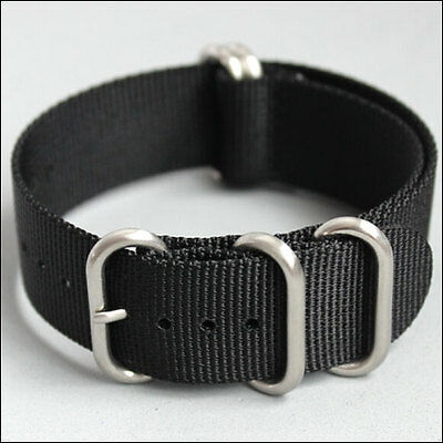 $9.95 • Buy 5-Ring Black Watch Strap, Military-Style Nylon Band With Matte Finish Buckle