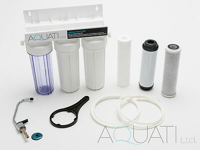 £13.95 • Buy Three Stage Under-sink Drinking Water Filter Sytsem Tap Kit Faucet + Accessories