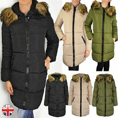 Womens Ladies Quilted Long Winter Coat Padded Puffer Fur Collar Hood Jacket Size • 21.99£