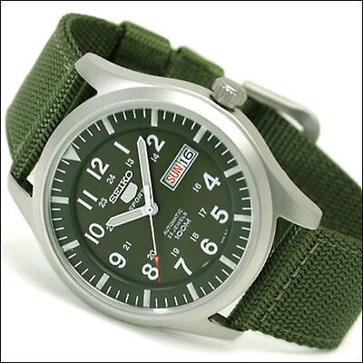 $ CDN186.37 • Buy Seiko 40mm 5 Sports Automatic Watch With Green Canvas Strap, Day, Date #SNZG09K1