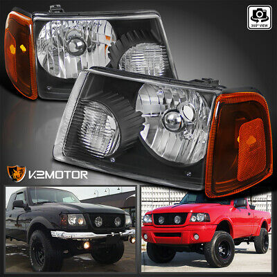 $67.38 • Buy For 2001-2011 Ford Ranger Black Headlights+Amber Corner Signal Lamps Left+Right
