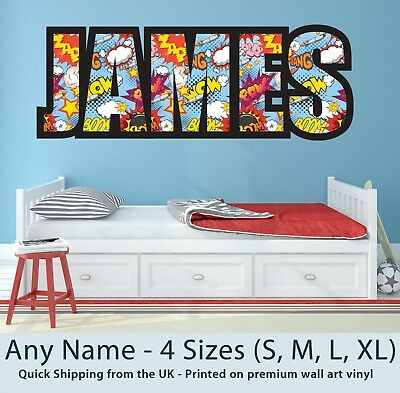 Childrens Name Wall Stickers Personalised Comic - Perfect For Boys/Girls Bedroom • 19.99£
