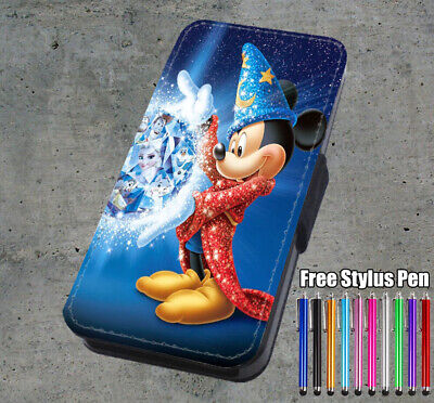 AU16.99 • Buy Disney Mickey Mouse Fantasia Printed Faux Leather Flip Phone Case Cover Wallet
