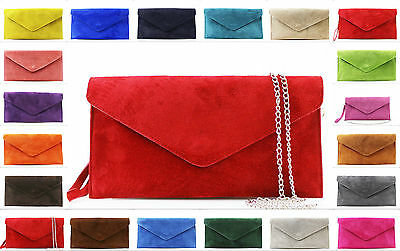 New Women Real Suede Leather Envelope Ladies Evening Party Prom Smart Clutch Bag • 11.99£