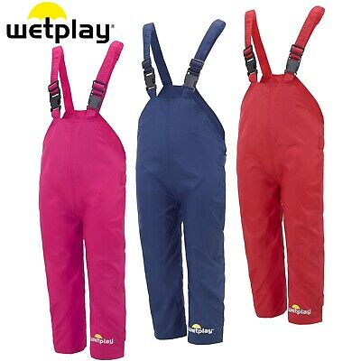 Wetplay Kids Waterproof Dungarees Rain Over Trousers Boys Girls Childs Childrens • 13.95£